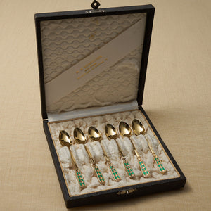 David Andersen Gold Plated Sterling Coffee Spoons Case