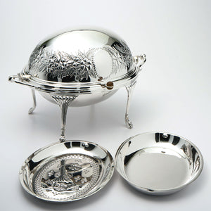 Silver plated roll top 3 piece entree dish