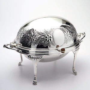 Silver plated roll top entree dish
