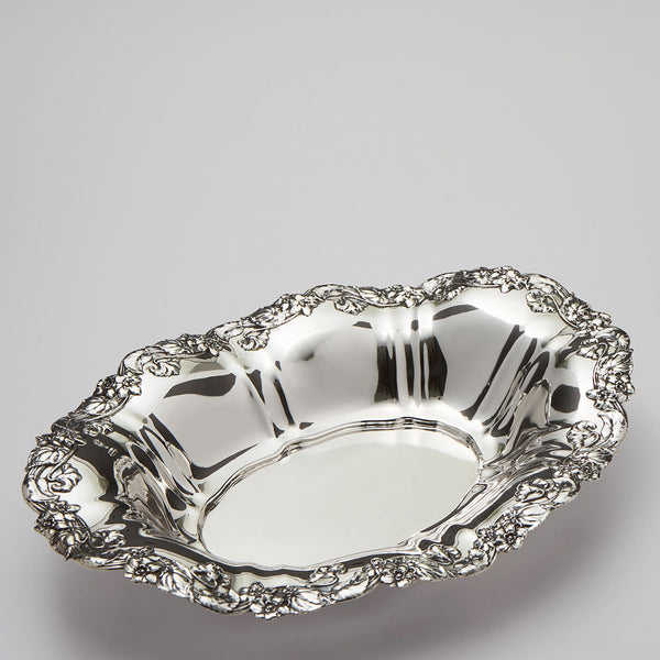 Floral Border Sterling Bread Tray