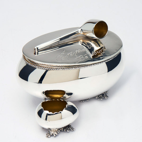 Silver Plated Tobacco Humidor with Match Holder