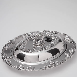 Silver Plated 2pc Vegetable Dish Grape Border