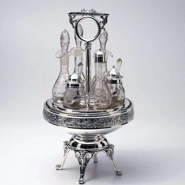 Silver Plated 6 Bottle Cruet Frame