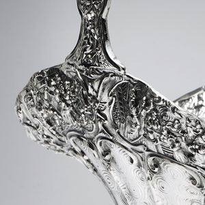 Silver Plated flower basket detail