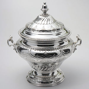 "Tureen is 7 7/8"" across by 7 7/8""  high. Overall height is 12 1/2"" with cover."