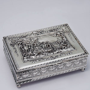 Figural Pattern Silver Plated Jewelry Box