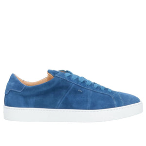 SANTONI Blue Suede Sneakers Shoes 11 (EU 10) Hand-made in Italy