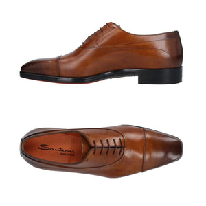 SANTONI Burnished Leather Cap-toe Shoes 11 (EU 10) Hand-made in Italy