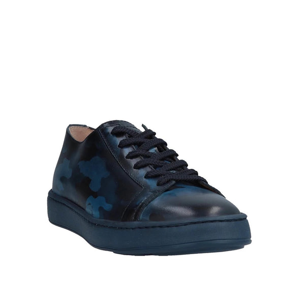 SANTONI Blue Camouflage Leather Sneakers Shoes ~ Hand-made in Italy