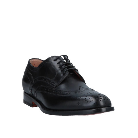 SANTONI Black Leather Wingtip Shoes ~ Hand-made in Italy