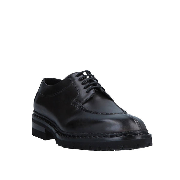 SANTONI Norwegian Welted Black Leather Shoes 13 (EU 12) Goodyear Collection