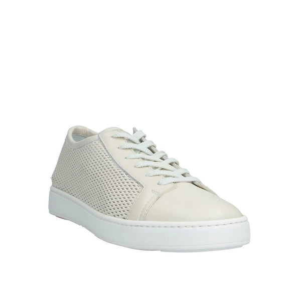 SANTONI Ivory Leather Sneakers Shoes ~ Hand-made in Italy
