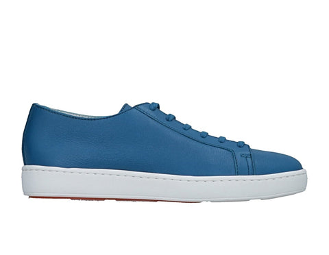 SANTONI Blue Leather Sneakers Shoes ~ Hand-made in Italy