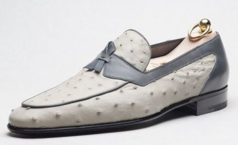 Stefano Bemer Goodyear Welted Genuine Ostrich Shoes ~ Handmade in Italy