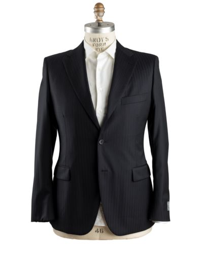 Belvest Super 130's Wool Black Suit 44 (EU 54) Tailored in Italy
