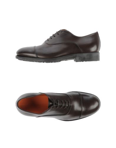 SANTONI Brown Leather Cap-toe Shoes 9 (EU 8) Hand-made in Italy