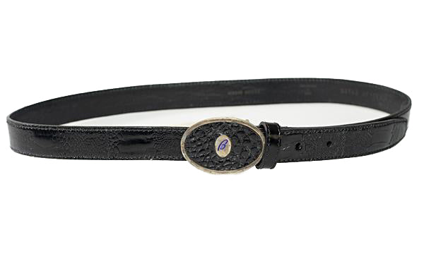 Brioni Genuine Ostrich Black Belt 32 Made in Italy (Sterling Silver Buckle)
