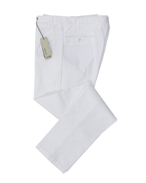 BOGLIOLI White Slim-Fit Stretch Cotton Pants ~ Made in Italy
