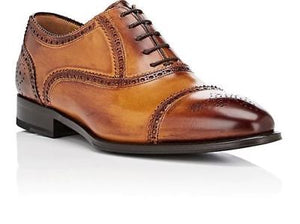 DI BIANCO Burnished Leather Shoes ~ Hand-made in Italy