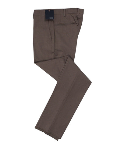 INCOTEX Brown Nailhead Cotton Dress Pants  ~ European Fit
