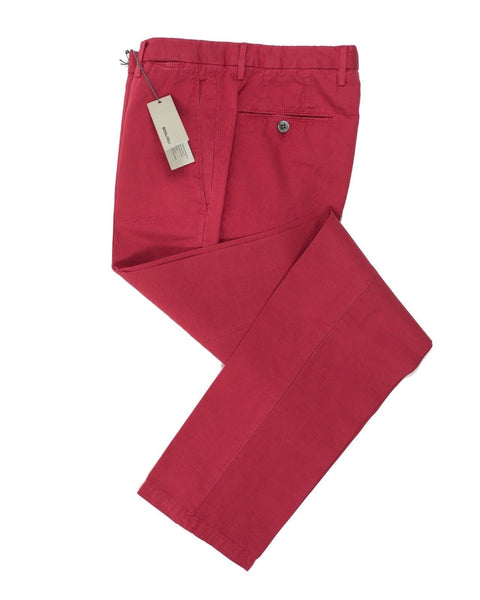 BOGLIOLI Red Slim-Fit Linen & Cotton Pants ~ Made in Italy