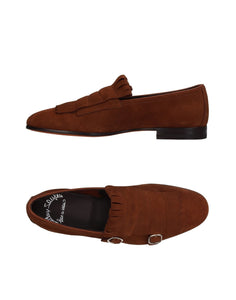 SANTONI Brown Suede Double Buckle Slip On Shoes ~ Hand-made in Italy