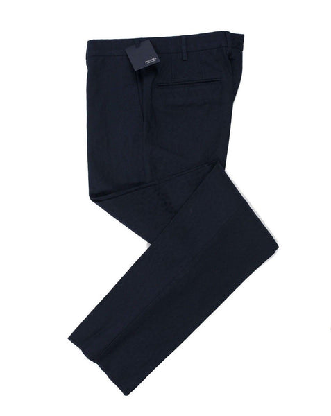 INCOTEX Fancy Navy Blue Cotton Pants  ~ European Fit