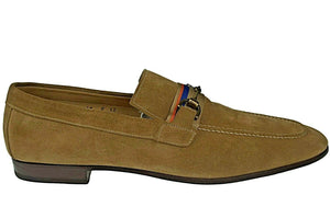 SANTONI Fatte a Mano Golden Tan Suede Loafer Shoes 9 (EU 7.5) Hand-made in Italy