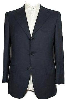 Kiton Napoli Solid Navy Blue Wool Suit 44 (EU 54) Handmade in Italy