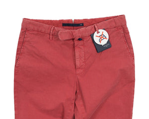 INCOTEX Red Dyed Cotton Chino Pants 30 (EU 46) European Slim Fit