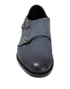 SANTONI Goodyear Burnished Charcoal Calf Shoes ~ Hand-made in Italy
