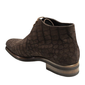 Stefano Ricci Genuine Nubuck Crocodile Boot Shoes 9.5 (EU 8.5) Hand-made in Italy