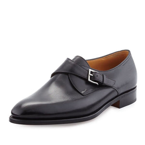 John Lobb Ashill Single-Monk Black Leather Shoes 11/12 (Last 7000) Made in England