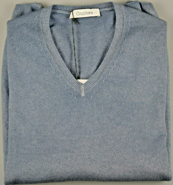 Cruciani Pure Cashmere Blue V-neck Sweater M (50) Made in Italy