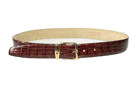 Brioni Genuine Crocodile Brown Belt 32 (EU 80) Made in Italy