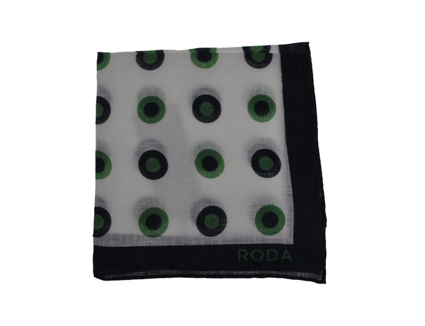 RODA Dot Print Linen Pocket Square Pochette ~ Made in Italy
