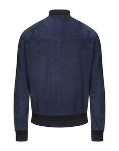 BOGLIOLI Genuine Leather Navy Blue Bomber Jacket M (EU 50) Made in Italy