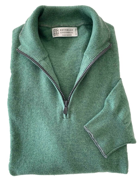 BRUNELLO CUCINELLI Pure Cashmere 1/2 Zip Sweater L (EU 52) Made in Italy