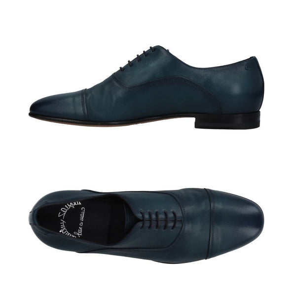 SANTONI Fatte a Mano Blue Leather Cap-toe Shoes 12 (EU 11) Hand-made in Italy