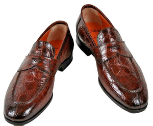 SANTONI Fatte a Mano Genuine Crocodile Loafer Shoes 11 Hand-made in Italy