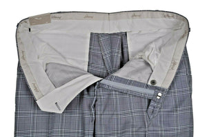 Brioni Gray Plaid Cotton-Wool-Silk Dress Pants 40 (EU 58) Made in Italy