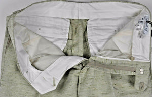 Schiatti & C. Cotton, Linen & Silk Dress Pants ~ Tailored in Italy w/Leather Details