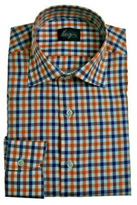 Morigi Extrafine Cotton Gingham Dress Shirt ~ Hand-made in Napoli, Italy