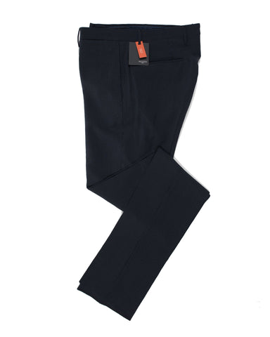 INCOTEX Navy Blue Silksucker Pants 30 (EU 46) Skin Fit