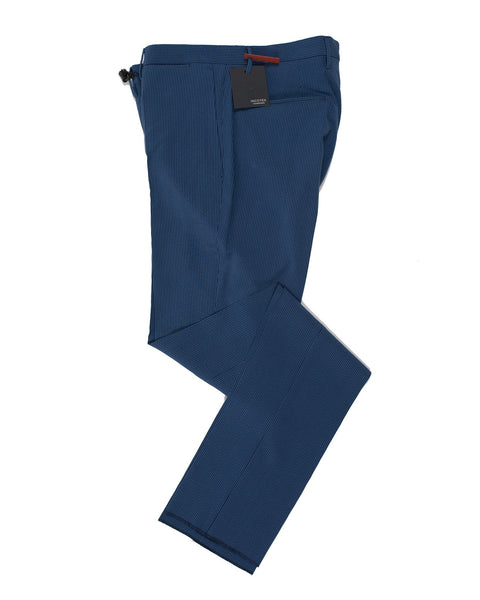 INCOTEX Blue Silksucker Pants 30 (EU 46) Skin Fit