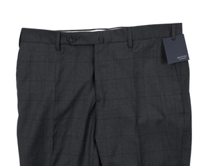 INCOTEX Superfine Wool Dark Gray Windowpane Dress Pants ~ European Fit