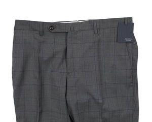 INCOTEX Superfine Wool Gray Windowpane Dress Pants ~ European Fit