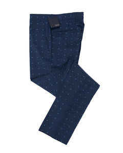 INCOTEX Superfine Wool Fancy Blue Dress Pants ~ European Fit
