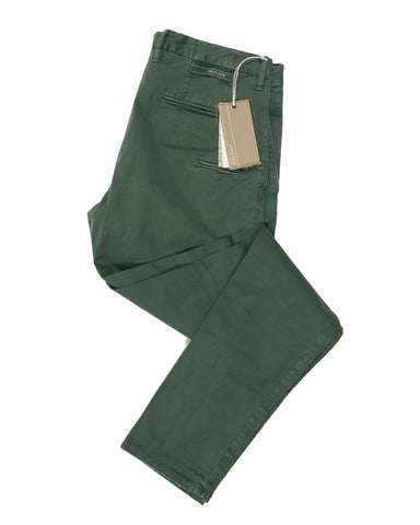 INCOTEX Dyed Green Selvedge Cotton Slacks ~ European Slim Fit