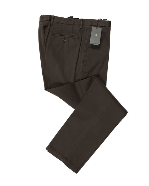 BOGLIOLI Brown Slim-Fit Stretch Cotton Pants 34 (EU 50) Made in Italy